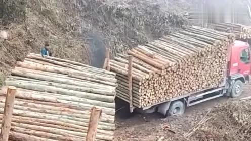 重型卡车拉满满一车木头陷入泥泞路面,救援成功后车队一起行驶