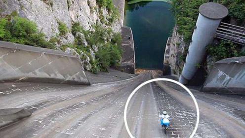 老外骑单车从200米大坝俯冲,过程太震撼,结局很意外