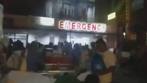 实拍菲律宾棉兰老岛6.3级地震现场 医院里的人全跑到了医院门口