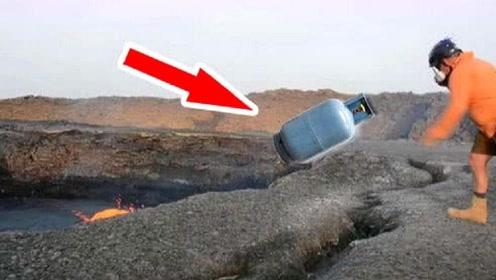 """不可思议的实验,外国小伙,将""""煤气罐""""扔到火山口,结果厉害了"""