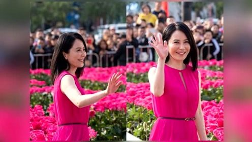 俞飞鸿穿玫红长裙优雅动人 48岁皮肤白皙紧致甜笑状态佳