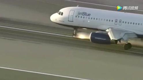 飞机前起落降故障紧急迫降,监控拍下这让人惊心动魄的一幕