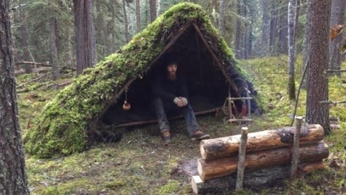 冬季丛林搭建庇护所过夜,盖上厚厚的苔藓保温,生堆篝火煎肉吃!