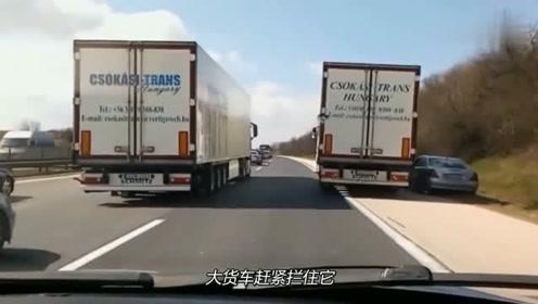 两辆大货车霸占住路面,小汽车司机敢怒不敢言