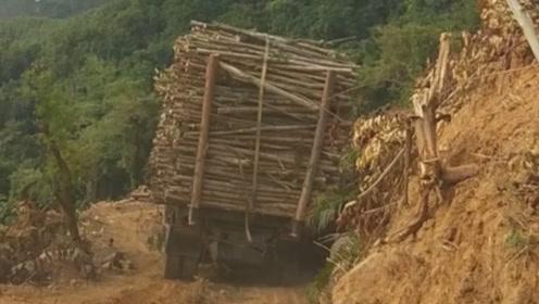 农村山里拉木头,这车刹车声叫得真响,跟杀猪似的