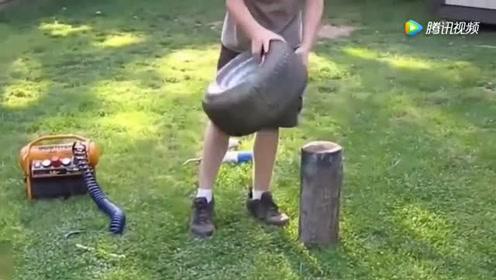 牛人给巨大的轮胎充气,这个方法太不可思议了,一般人不敢弄