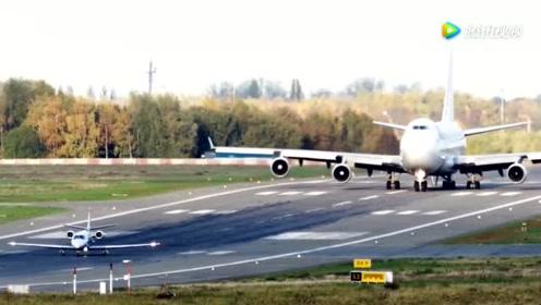 实拍波音747与塞斯纳飞机先后起飞,没有对比就没有伤害!