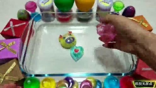 酷炫史莱姆新玩法火箭蛋奇趣泥与苹果小猪水晶泥混合,养眼手感好