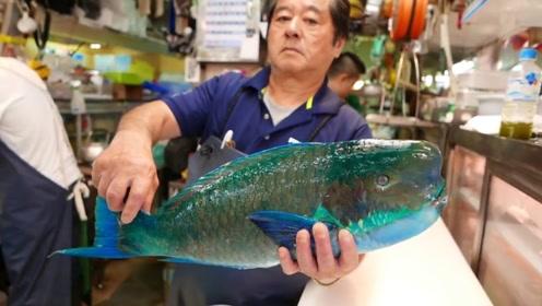 拿破仑鱼有多美味?日本大师用最简单的方法,制作出一道美味