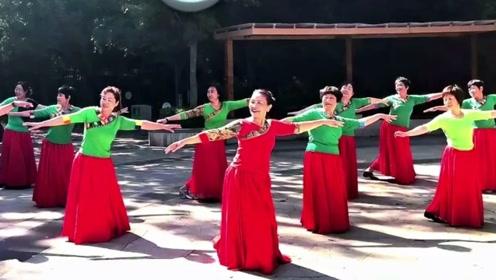 青岛高华广场舞《雪山阿佳》藏族舞蹈集体表演