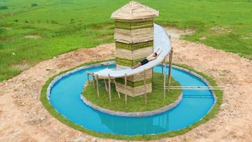 创意原始人生活探秘:搭建湖心小屋