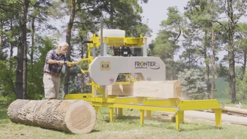 美国发明的木材切割机,一分钟圆木变木板,看完才知道有多先进