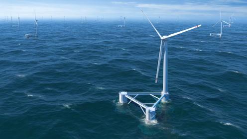 """台风来袭,新型浮式海上""""大风车""""竟然躲进了海里"""
