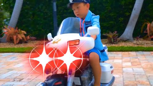 小警察出门执行任务,汽车轮胎意外飞了,只好骑上心爱的小摩托