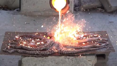 用1000摄氏度的高温铁水烤章鱼,这烤的能吃吗?