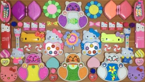 解压史莱姆教程,小猫咪米粒泥+彩色麻花+太阳花黏土,手感不错呢
