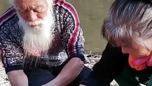 白发美髯老翁围网捕鱼,河边搭灶为老婆做美食,被赞神仙生活