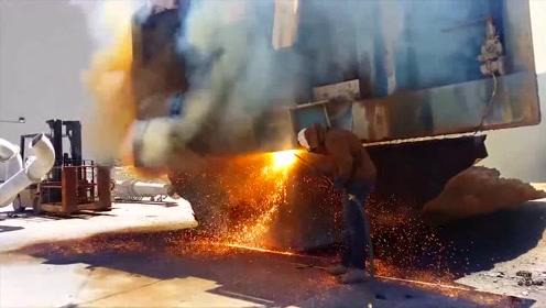 好猛的氧气乙炔切割,原来钢板可以切割得如此轻松,厉害了!