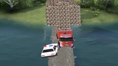 模拟驾驶大货车过窄桥,结果扎心了,现实中哪有这么虎的司机!