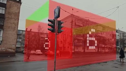 乌克兰研发新型红绿灯,红灯变成一道屏障,有效阻拦闯红灯现象