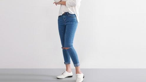 旧牛仔裤丢掉太可惜,美女简单改一改,成品轻松秒杀最新款