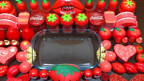 红色系无硼砂史莱姆教程,水果果冻泥+大嘴唇彩泥+冰激凌彩泥,好玩解压
