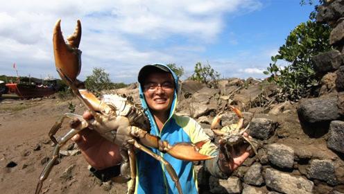 """渔夫挖开一个""""老妖洞"""",洞底的螃蟹意外的大!围观的阿姨看傻了"""