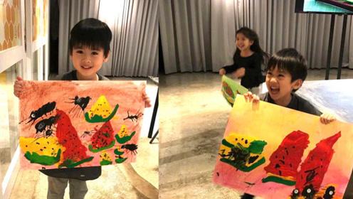 林志颖晒双胞胎儿子近照 两萌娃展绘画天赋超可爱