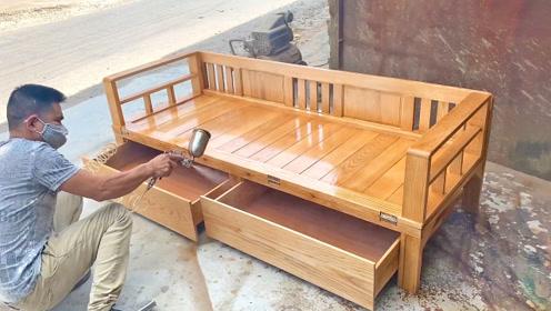 越南木匠制作的多功能折叠床,实木打造,成品一看就不便宜