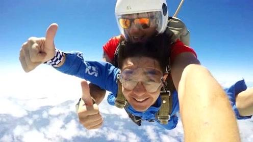 林志颖挑战高空跳伞极限 空中竖大拇指笑容轻松
