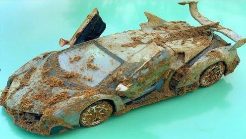 小哥翻土时挖出一辆兰博基尼模型,翻新之后,成品比原来还惊艳