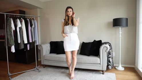 时尚美女穿白色包臀裙,展示自信美,有种女神风!