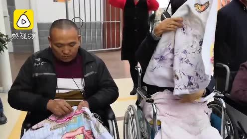 托养中心坐轮椅的男绣娘,绣出金陵十二钗:腿残但手还能动