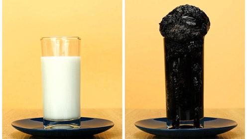 让白白的牛奶秒变黑炭,只需这一物!