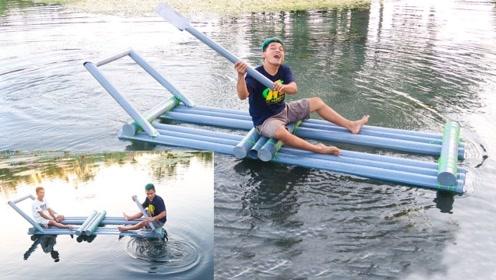几根管子就能浮起两个人,小伙这船造得够简单,可以去钓鱼了