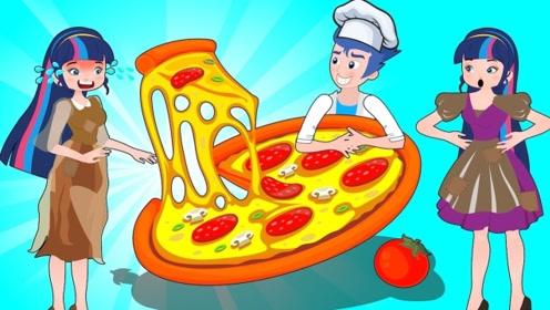 女孩没钱买不起披萨,更不愿意吃免费的东西,只能凭实力获得!