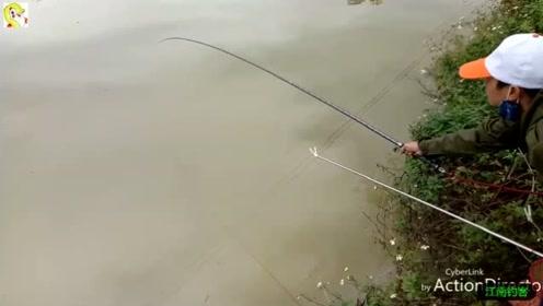 鱼饵拌好就撒点到河边再抛下钓竿,看着钓竿拉动一拉钓收获一条大鲤鱼