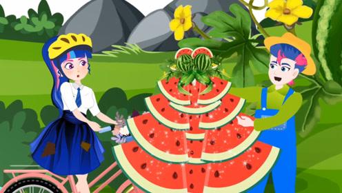 女孩在梦中来到了水果王国,葡萄有气球大,西瓜都能做成裙子!