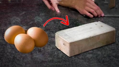 鸡蛋壳能做成板砖吗?外国小哥亲自测试,结果令人傻眼了!