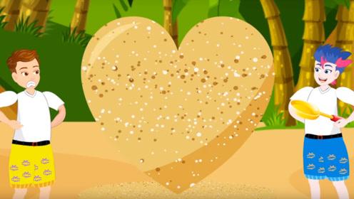 男孩在海边,用沙子制造出爱心形状,女孩们看到疯狂尖叫!