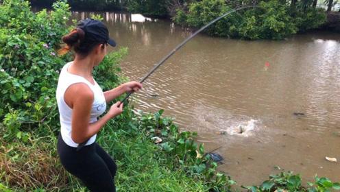 农村妹子河边钓鱼,这条罗非鱼太大了,快拉不上岸了