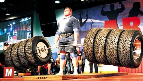 世界顶级的大力士比赛,硬拉1000斤当场血管爆裂,口鼻出血!