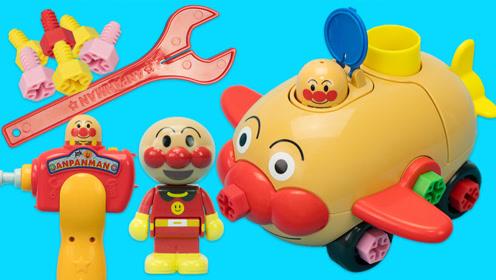 面包超人DIY玩具 组装电动猪猪车