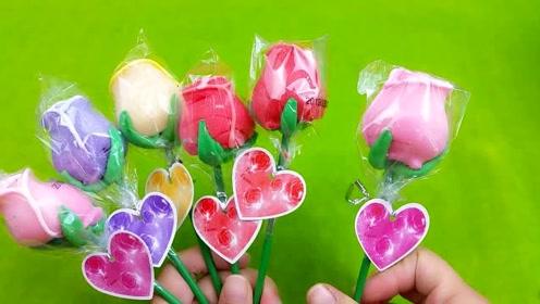 吃有创意的玫瑰花棒棒糖,好吃不粘牙