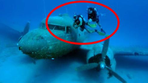 国外男子到深海潜水,意外发现飞机残骸,靠近后看到里面吓到了