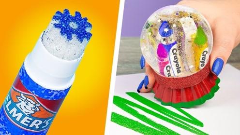 9个有趣的圣诞文具创意,DIY雪花胶棒vs水晶球蜡笔喜欢哪个