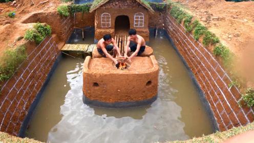 原始技术,两兄弟野外挖地下庇护所,造型别致还带游泳池