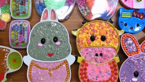 DIY史莱姆教程,小兔子泥混合凯蒂猫彩泥、小饰品、小猪泥