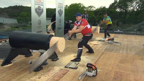 德国的伐木工到底有多牛?眨眼的功夫,一根木头就锯完了?