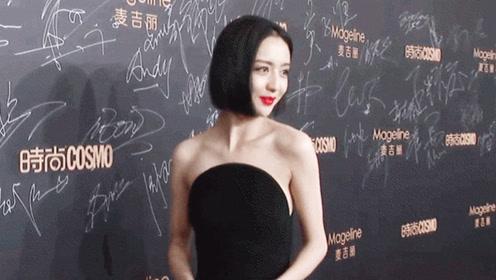佟丽娅黑色抹胸开衩长裙cosmo时尚盛典红毯现场,短发干练又性感!